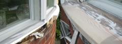 Repaired wooden window