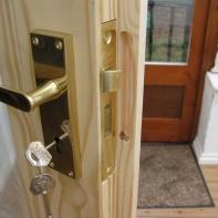 Lock fitting on wood door
