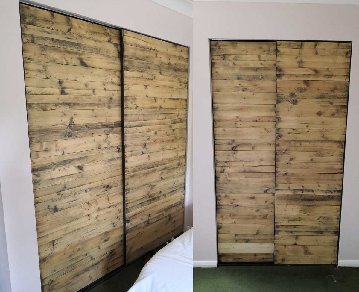 Recycled wood pallets made into a door